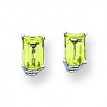 Emerald Cut Peridot Earring in 14k White Gold