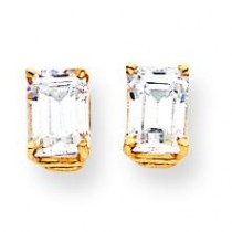 Emerald Cut Cubic Zirconia Earrings in 14k Yellow Gold