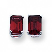 Emerald Cut Garnet Earring in 14k White Gold
