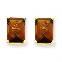 Emerald Smokey Quartz Earring in 14k Yellow Gold