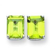 Emerald Cut Peridot Earring in 14k White Gold