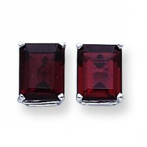Emerald Cut Garnet Stud Earring in 14k White Gold
