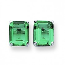 Mount St Helens Diamond Emerald Stud Earring in 14k White Gold
