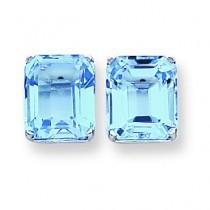 Emerald Cut Blue Topaz Earring in 14k White Gold