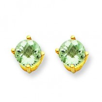 Round Green Amethyst Earring in 14k Yellow Gold