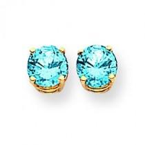 Blue Topaz Earrings in 14k Yellow Gold