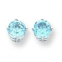 Blue Topaz Earrings in 14k White Gold
