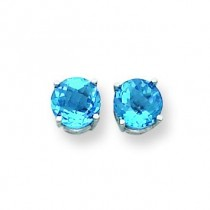 Blue Topaz Checker Earring in 14k White Gold