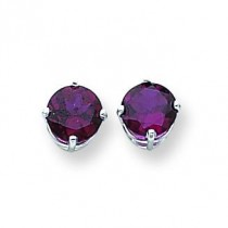 Rhodalite Garnet Earring in 14k White Gold