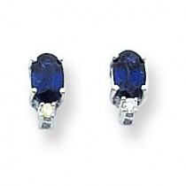 Oval Sapphire Diamond Earrings in 14k White Gold (0.05 Ct. tw.) (0.05 Ct. tw.)
