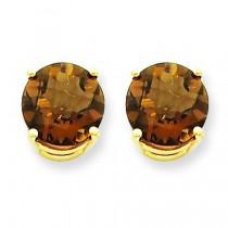Round Smokey Quartz Earring in 14k Yellow Gold