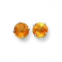Citrine Checker Earring in 14k White Gold