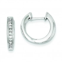 Diamond Complete Hinged Hoop Earrings in 14k White Gold