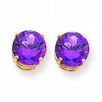 Amethyst Diamond Round Stud Earring in 14k Yellow Gold