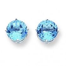 Blue Topaz Earring in 14k White Gold
