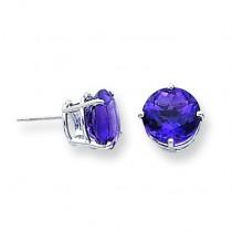Amethyst Diamond Round Stud Earring in 14k White Gold