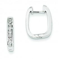 Diamond Complete Hinged Hoop Earrings in 14k White Gold