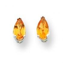 Citrine Diamond Pear Stud Earring in 14k White Gold