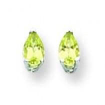 Pear Peridot Earring in 14k White Gold