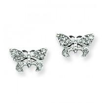 Diamond Butterfly Post Earrings in 14k White Gold