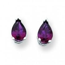 Rhodalite Garnet Diamond Pear Stud Earring in 14k White Gold
