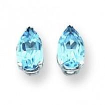 Pear Blue Topaz Earring in 14k White Gold