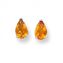 Pear Citrine Checker Earring in 14k White Gold