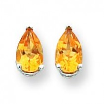 Pear Citrine Earring in 14k White Gold