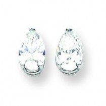 Pear Cubic Zirconia Earring in 14k White Gold