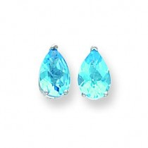 Pear Blue Topaz Checker Earring in 14k White Gold
