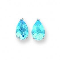 Pear Blue Topaz Checker Earring in 14k White Gold