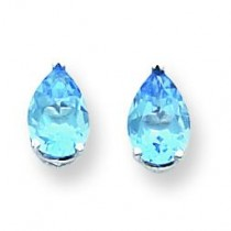 Blue Topaz Earrings in 14k White Gold