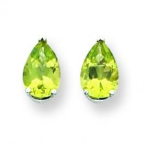 Pear Peridot Earring in 14k White Gold