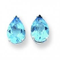Pear Blue Topaz Earring in 14k White Gold