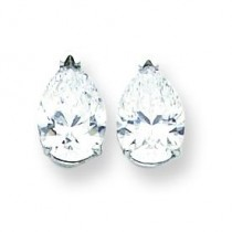 Cubic Zirconia Diamond Pear Stud Earring in 14k White Gold