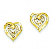 Diamond Heart Earring in 14k Yellow Gold