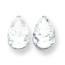 Pear Cubic Zirconia Earring in 14k White Gold
