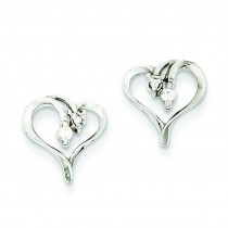 Diamond Heart Earring in 14k White Gold