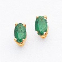 Oval Emerald Earrings in 14k Yellow Gold