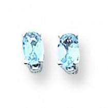 Oval Blue Topaz Earring in 14k White Gold