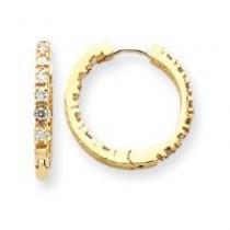 Diamond Hinged Hoop Earrings in 14k Yellow Gold