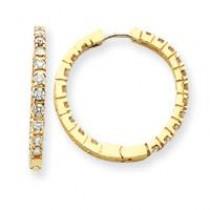 Diamond Hinged Hoop Earrings in 14k Yellow Gold (1.9 Ct. tw.) (1.9 Ct. tw.)