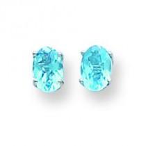 Oval Blue Topaz Checker Earring in 14k White Gold
