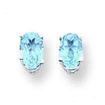 Oval Blue Topaz Earrings in 14k White Gold