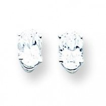 Cubic Zirconia Diamond Oval Stud Earring in 14k White Gold