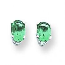 Mount St Helens Diamond Oval Stud Earring in 14k White Gold