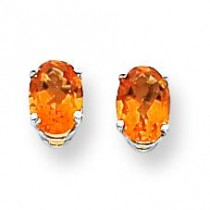 Oval Citrine Earring in 14k White Gold