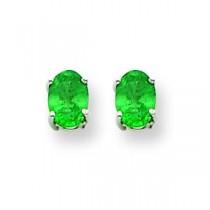 Emerald Earrings in 14k White Gold