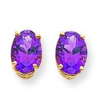 Oval Amethyst Earrings in 14k Yellow Gold