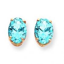 Oval Blue Topaz Earrings in 14k Yellow Gold